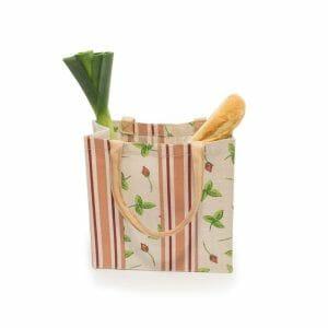 Nákupní taška z bělené juty, design růže a pruhy
