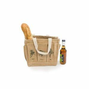 Hobby taška z juty s motivem zahrádky a bylinek