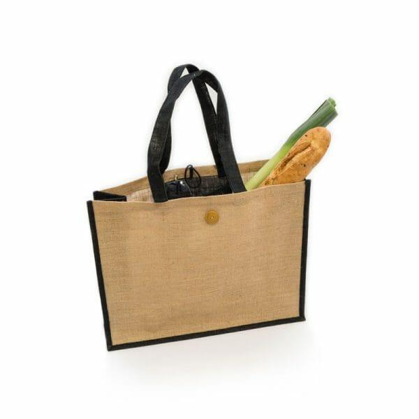 Nákupní jutová taška, přírodní s černou dekorací